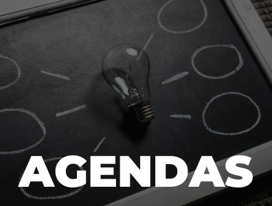 """Text """"Agenda"""" in foreground with image of light bulb, and thought bubbles on a chalkboard in the foreground."""