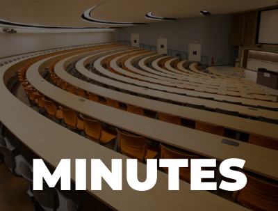 """Text """"Minutes"""" in foreground with image of large lecture hall in background."""
