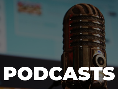 """Text """"Podcasts"""" in foreground with image of microphone in background."""